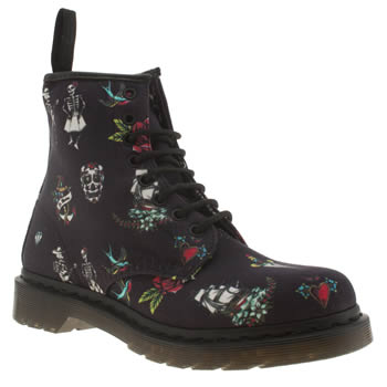 womens dr martens navy 8 eye tattoo boots