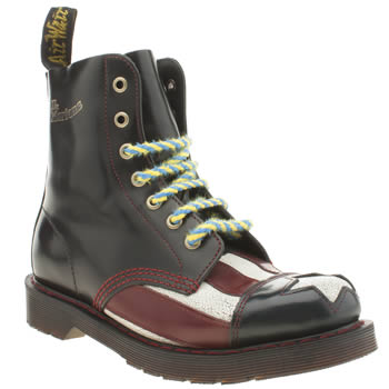 Dr Martens Black & Red Con-gress 7 Eye Boots