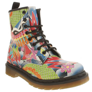 Dr Martens Multi 8 Eye Psych Tattoo Boots