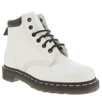 Womens Dr Martens White & Black 939 Padded Collar 6-eye Boots