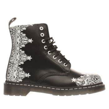 Dr Martens Black & White Pascal Lace 8 Eye Boot Boots