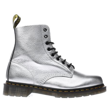 womens silver dr martens pascal 8 eye boots schuh. Black Bedroom Furniture Sets. Home Design Ideas