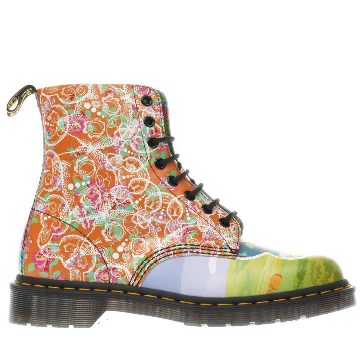 dr martens orange & pink pascal 8 eye boots
