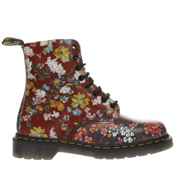 Dr Martens Red & Navy Floral Pascal 8 Eye Womens Boots