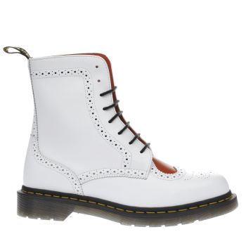 Dr Martens White & Red Bentley Ii Heart 8 Eye Womens Boots