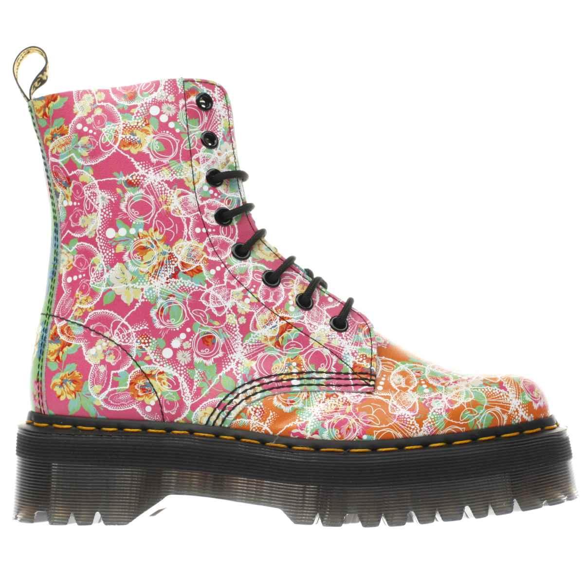 dr martens orange & pink jadon daze 8 eye boots