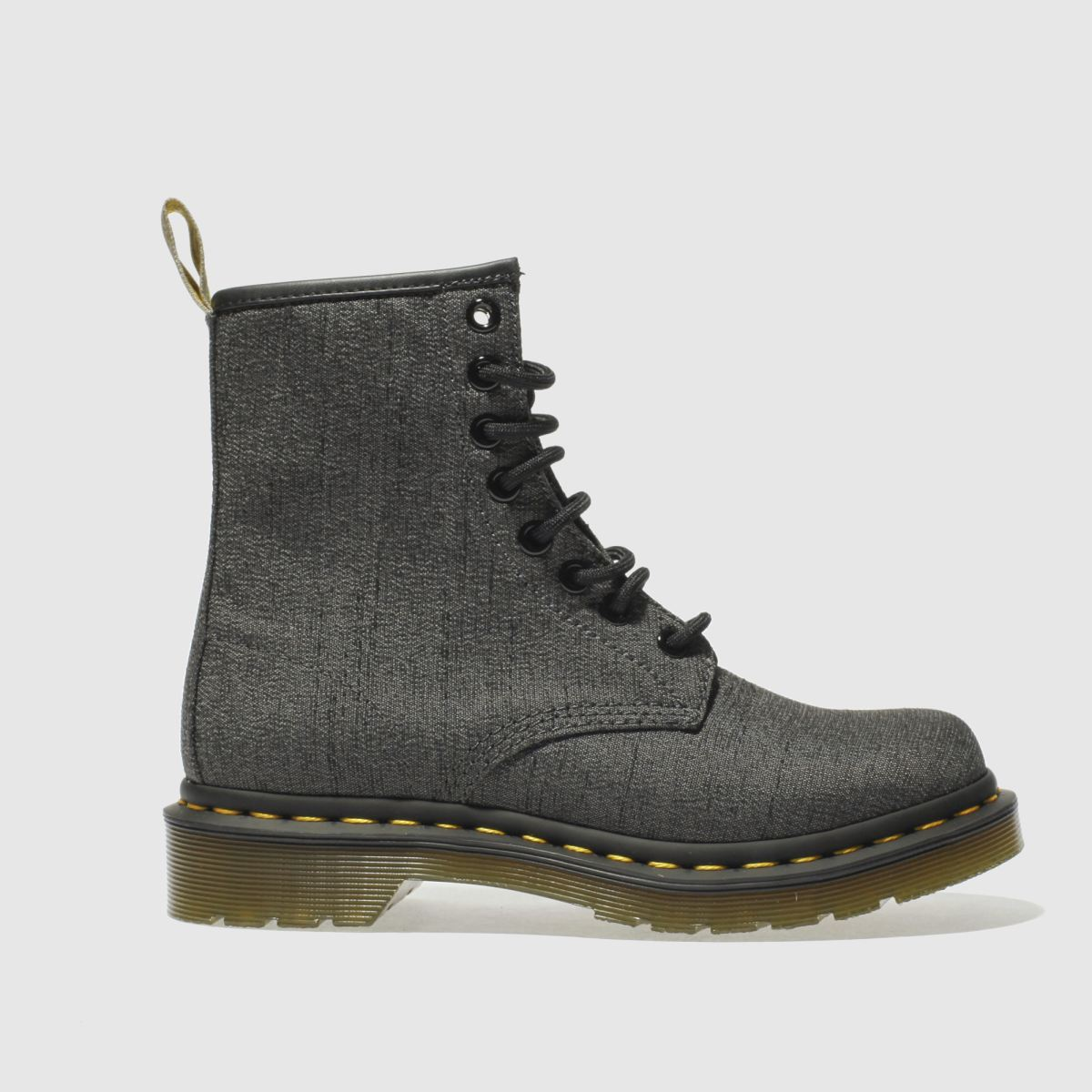 dr martens dark grey vegan castel 8 eye boots
