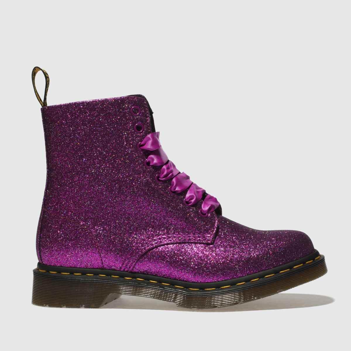 Dr Martens Pink Pascal 8 Eye Boot Glitter Boots