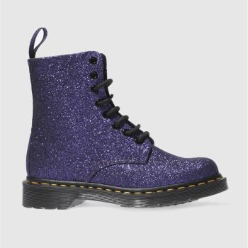 Dr Martens Purple Pascal 8 Eye Boot Glitter Womens Boots