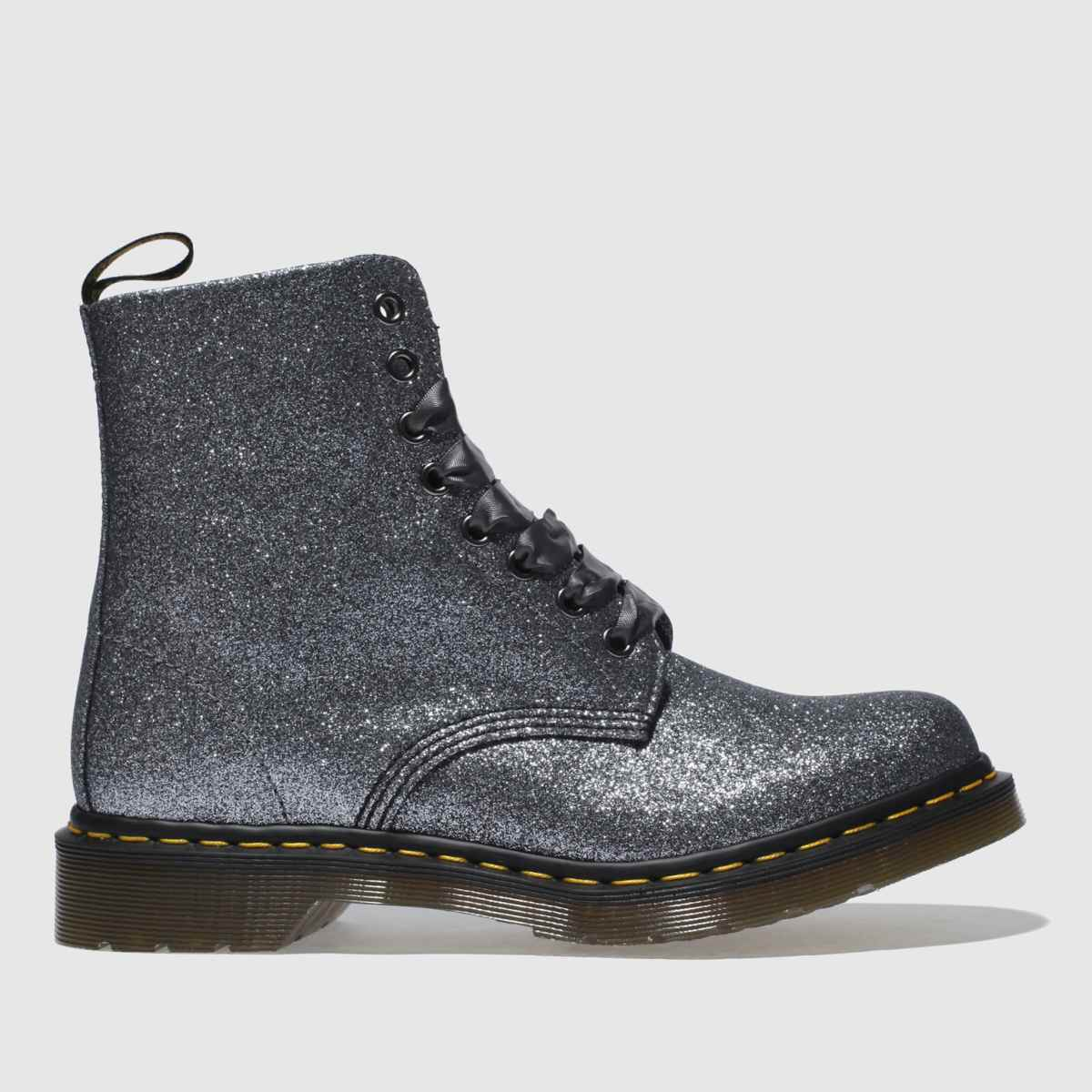 Dr Martens Grey Pascal 8 Eye Boot Glitter Boots