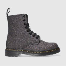 Dr Martens Black & Purple Pascal 8 Eye Boot Glitter Womens Boots