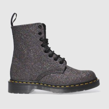 Dr Martens Black & Purple PASCAL 8 EYE BOOT GLITTER Boots