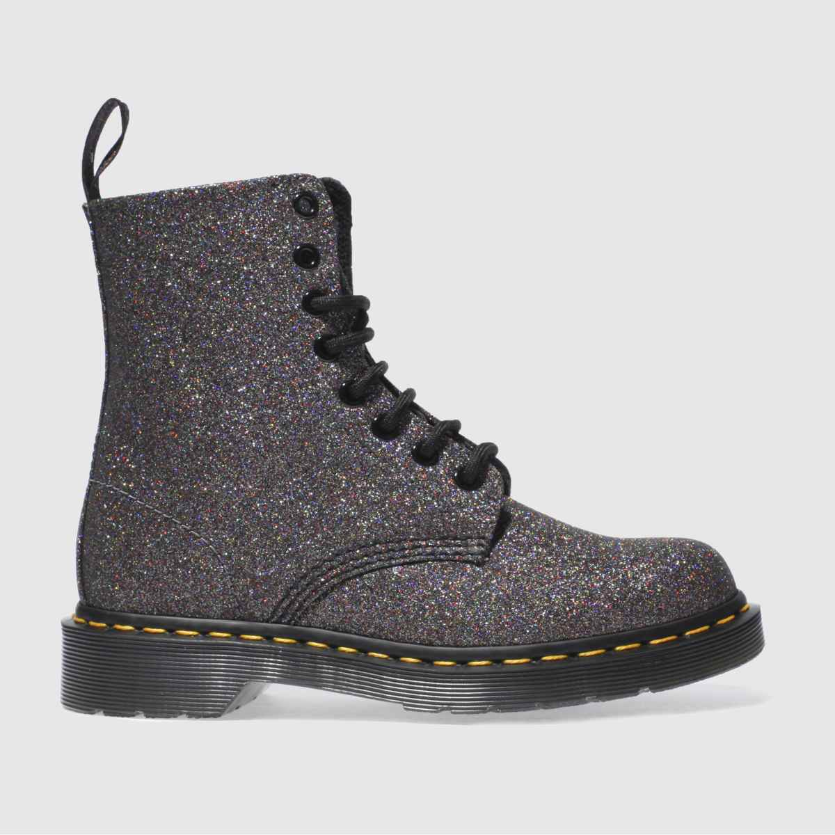 dr martens black & purple pascal 8 eye boot glitter boots