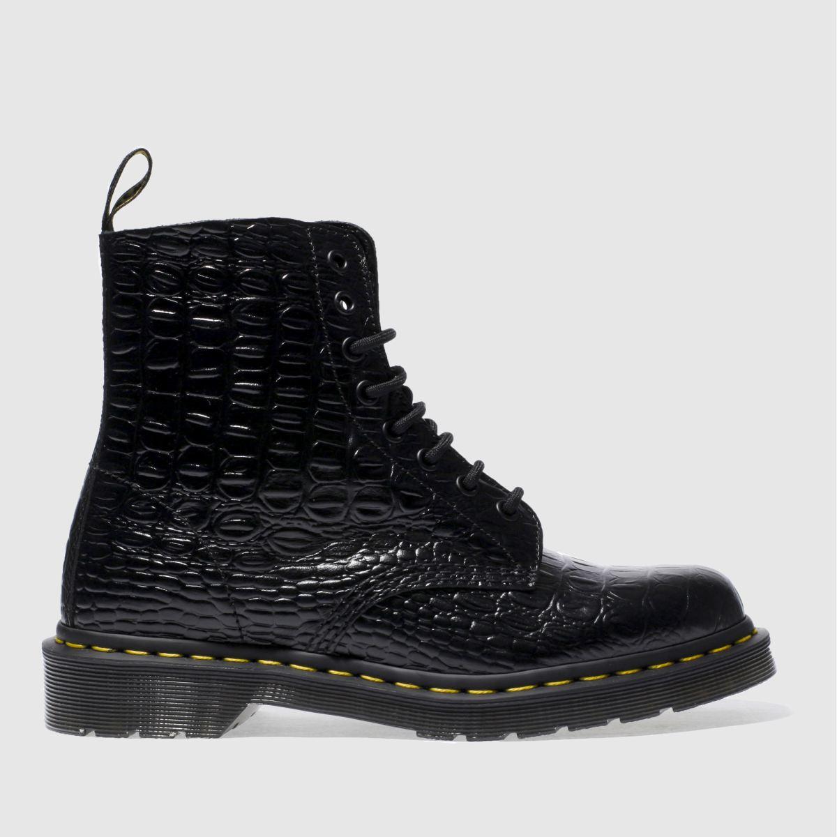 Dr Martens Black Pascal Croc 8 Eye Boots