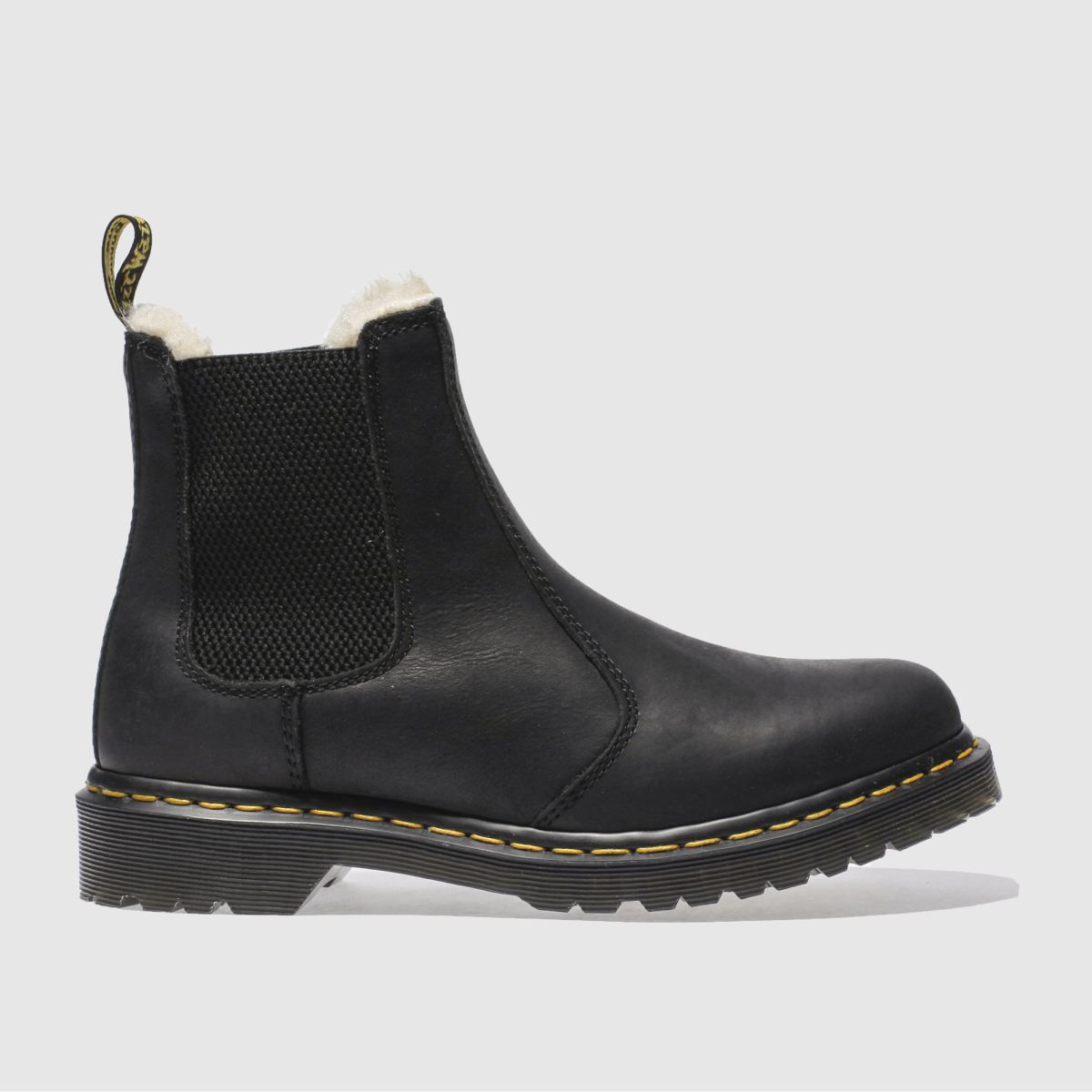 Dr Martens Black Leonore Fur Lined Chelsea Boots