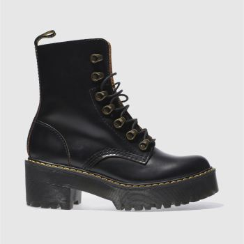 Dr Martens Black Leona 7 Hook Boot Womens Boots