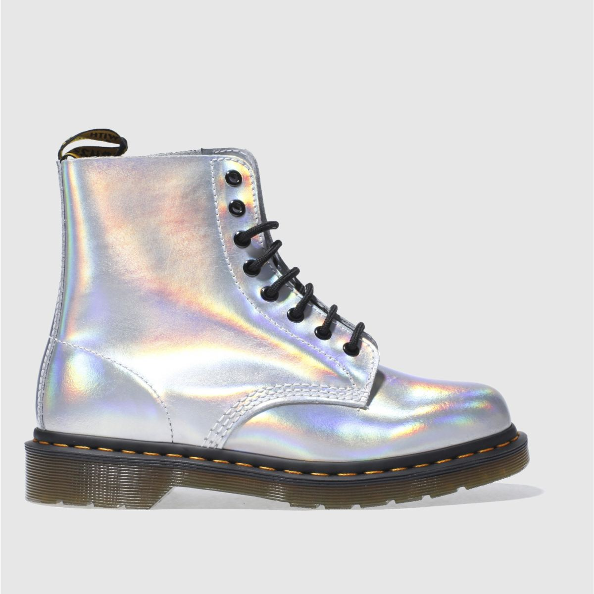 Dr Martens Silver Pascal Rs 8 Eye Metallic Boots