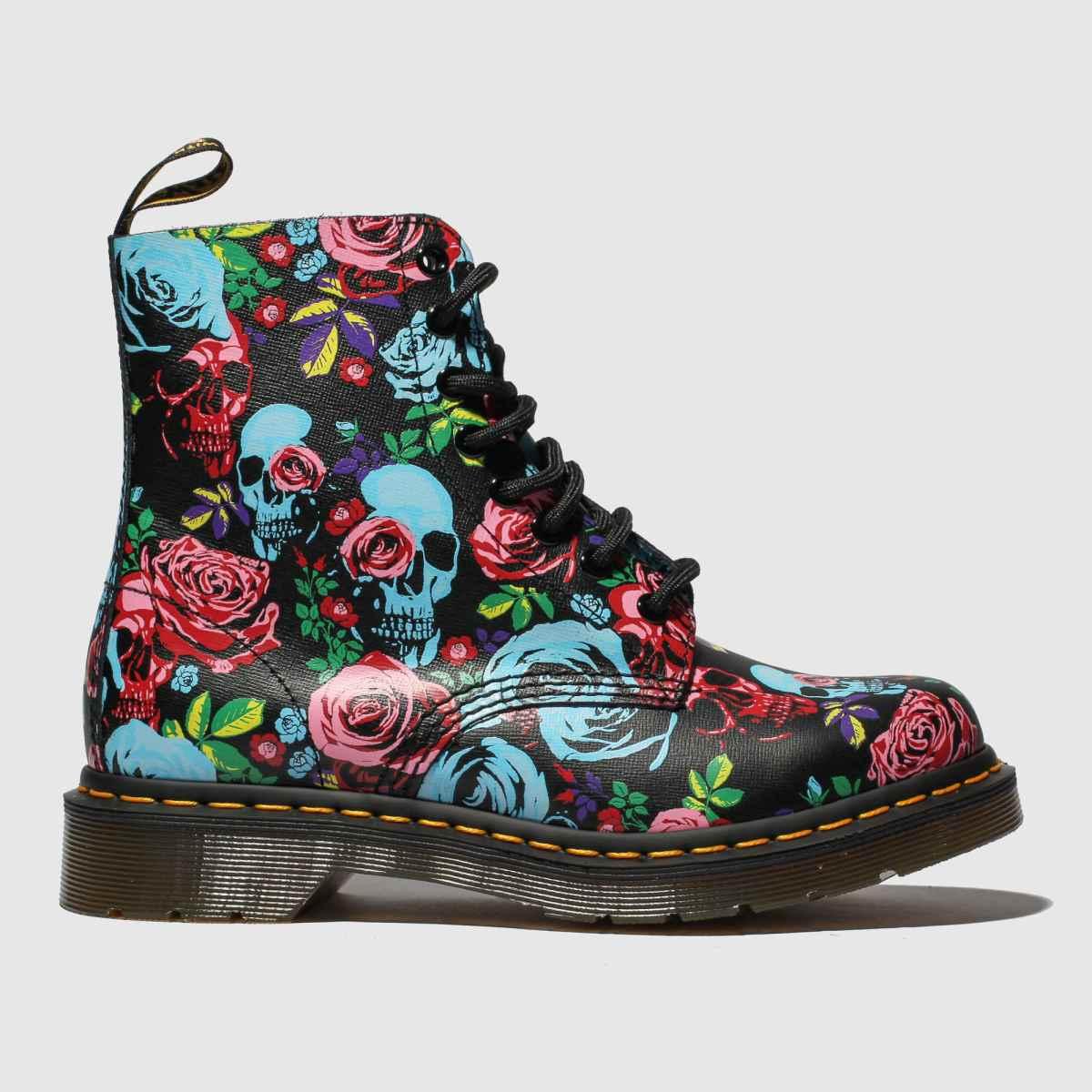 Dr Martens Black & Red 1460 Pascal Rose Fantasy Boots