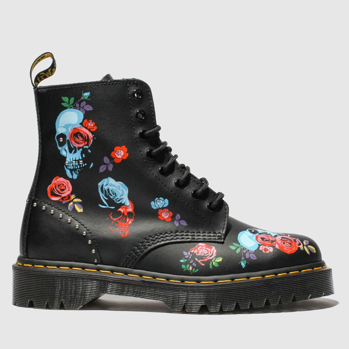 Dr Martens Black & Pink 1460 Bex Rose Boots