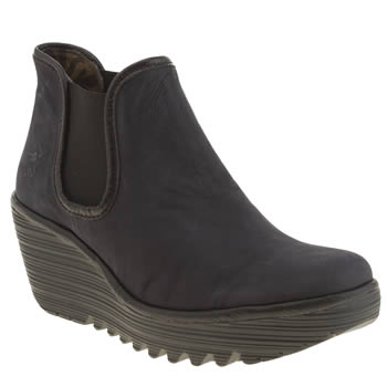Womens Fly London Navy & Black Yat Boots
