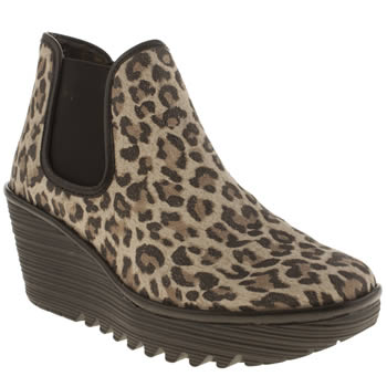 Womens Fly London Beige & Brown Yat Leopard Boots