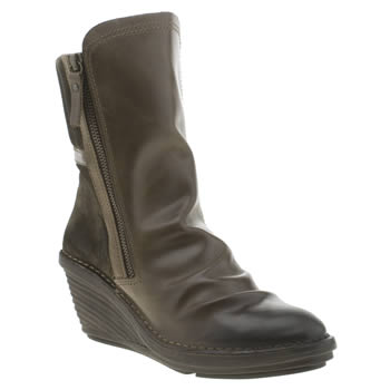 Womens Fly London Khaki Simi Boots
