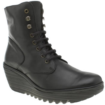 Fly London Black Ygot Womens Boots