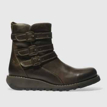 Fly London Khaki Sard Womens Boots