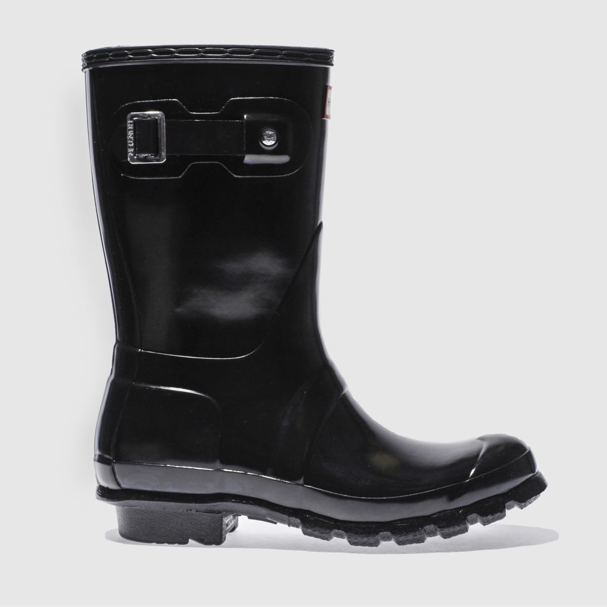 hunter black original gloss short boots