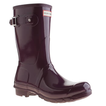 Hunter Purple Original Gloss Short Boots