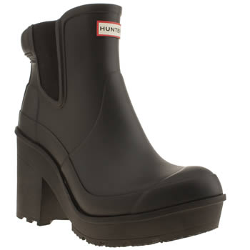 Hunter Black Block Heel Chelsea Boots