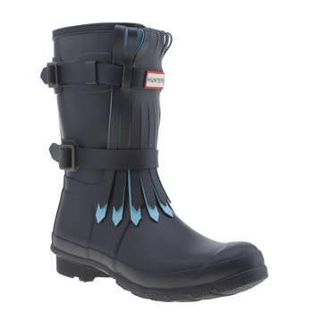 Womens Hunter Navy & Pl Blue Original Short Fringe Boots