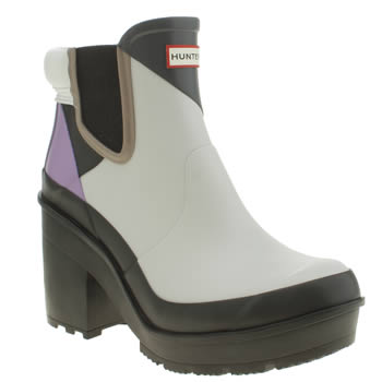 Hunter Black & Grey Original Dazzle Heel Boots