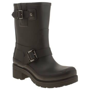 Womens Hunter Black Original Rubber Biker Boots