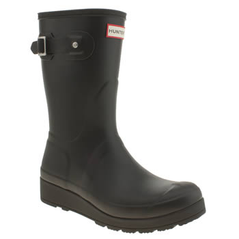 Hunter Black Original Short Wedge Boots