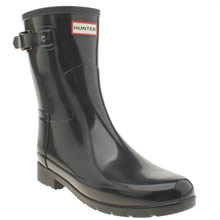 Hunter Dark Grey Refined Short Gloss Womens Boots
