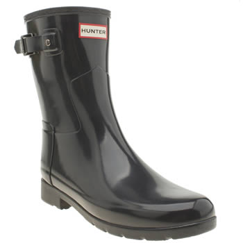 Hunter Dark Grey Refined Short Gloss Boots