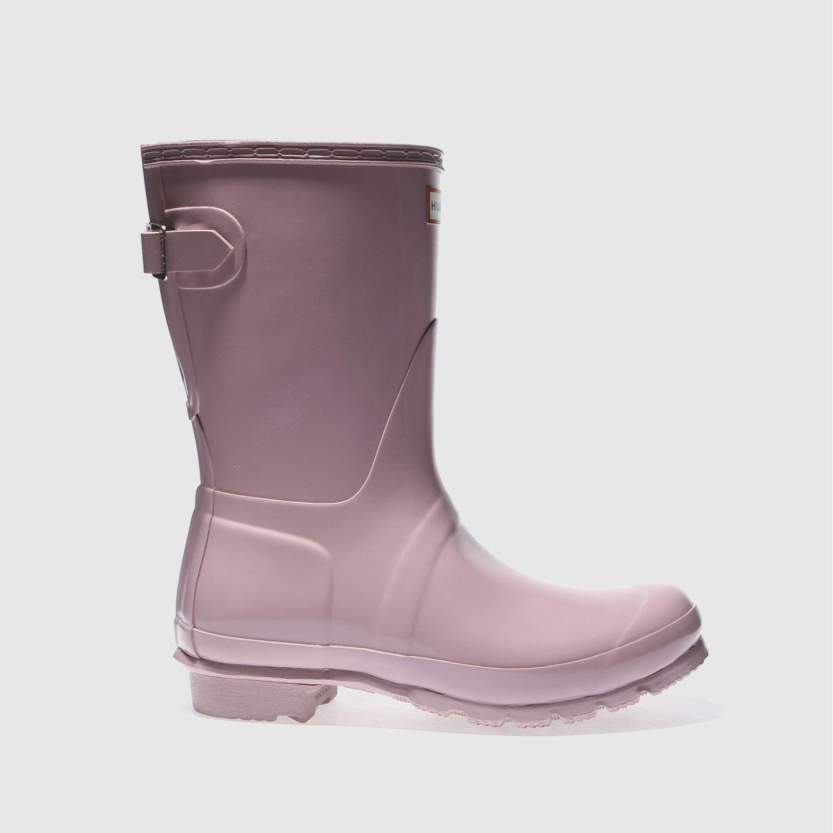 hunter pale pink back adjust short gloss boots