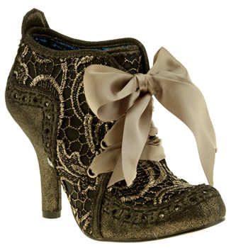 Womens Irregular Choice Gold Iced Gem Abigail Ankle Lace Boots