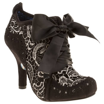 Womens Irregular Choice Black & Silver Iced Gem Abigail Ankle Lace Boots