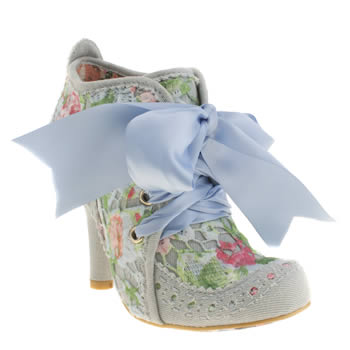Womens Irregular Choice Pale Blue Abigails Party Floral Boots