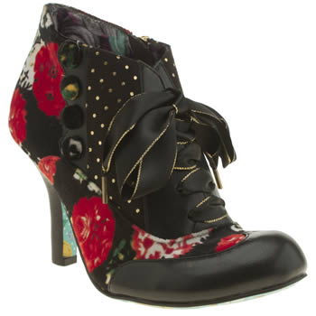 Womens Irregular Choice Black & Red Blair Elfglow Floral Boots