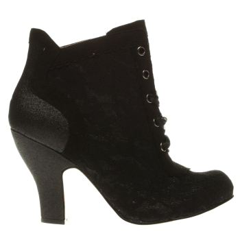 Irregular Choice Black Matucana Sweet Pea Glitter Womens Boots