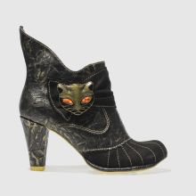 Irregular Choice Black & Gold Miaow Womens Boots