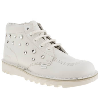 womens kickers white & silver hi stone boots