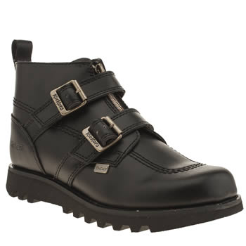 Womens Kickers Black Kick Hi Double Buckle Boots