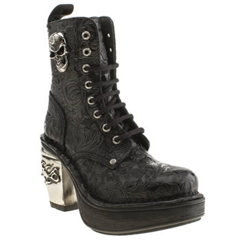 New Rock Black & Silver Vintage Flower Skull Boots