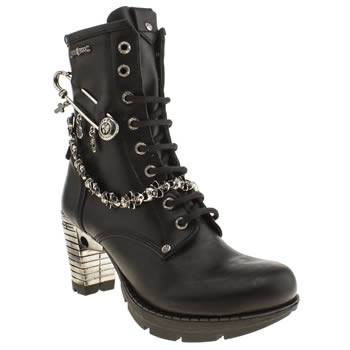 New Rock Black & Silver Pin Chain Boots