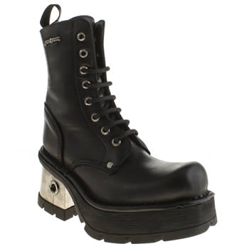 New Rock Black & Silver Basic Lace Up Boots