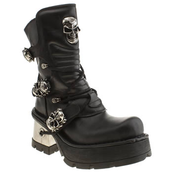 New Rock Black & Silver Skull Buckle Boots